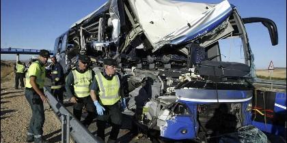 Imagen del estado del autobús después del accidente