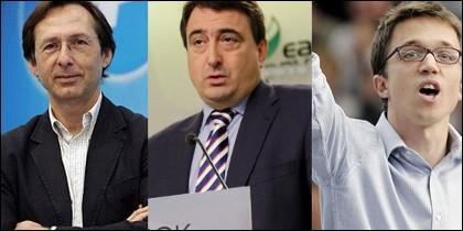 Robles (PP), Esteban (PNV) y Errejón (Podemos).