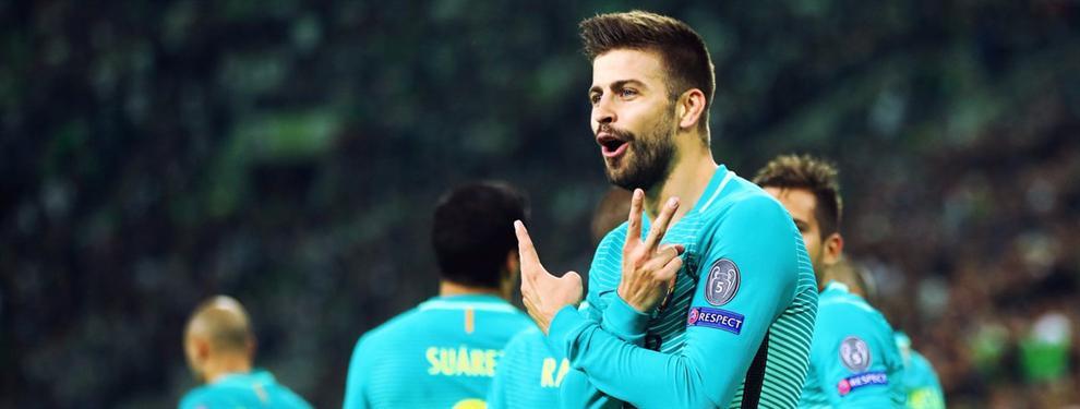 La curiosa felicitación de Rafinha a Piqué por el gol ante el Mönchengladbach