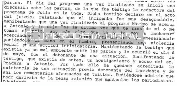 Sentencia condenatoria de Máximo Pradera por agredir a Antonio Naranjo.