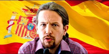 Pablo Iglesias y un montaje con la bandera española.