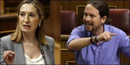 Ana Pastor y Pablo Iglesias en el Congreso.