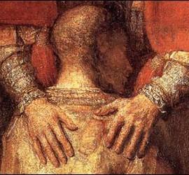 Las manos del padre en el cuadro del Hijo Prodigo de Rembrandt