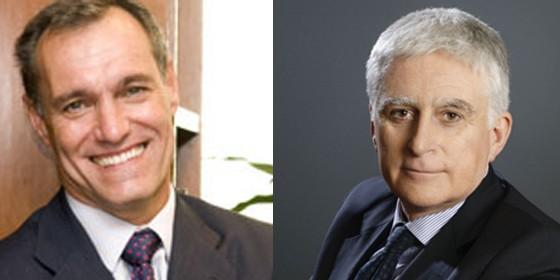 Silvio González, CEO de Atresmedia y Paolo Vasile, CEO de Mediaset y el hombre de Berlusconi en España.