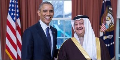 Obama con el embajador de Arabia Saudí en Estados Unidos. El príncipe Abdullah Al-Saud.