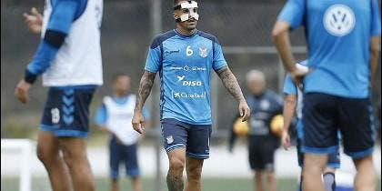 Víctor Añino 'Vitolo' en el entrenamiento del CD Tenerife.