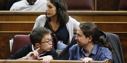 Errejón, Montero e Iglesias en el Congreso.