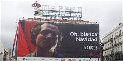 Cartel de Pablo Escobar sobre el edificio del Tío Pepe.