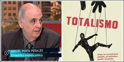 Miquel Porta Perales y la portada de 'Totalismo' (ED Libros).