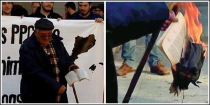 Un hombre quema un ejemplar de la Constitución en Rubí.