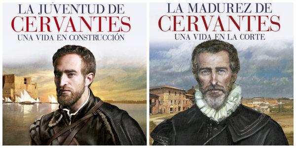 Dos tomos de la biografía de Cervantes publicada por EDAF.