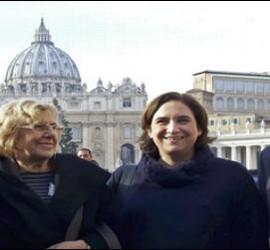 Santisteve, Carmena, Colau y Ribó en el Vaticano