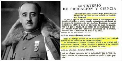 Francisco Franco y el decreto educativo del año 1967.