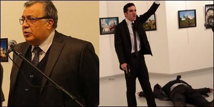 El embajador Andrei Karlov y una imagen de su asesinato.