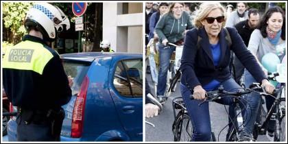 Policía multando a un coche y Carmena pedaleando en bicicleta.