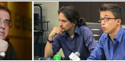 Santiago González, Pablo Iglesias e Íñigo Errejón.