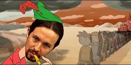 Pablo Iglesias disfrazado del flautista de Hamelin.