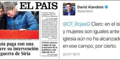 Portada de El País del 02-01-2017 y las críticas a la Iglesias de D. Alandete.