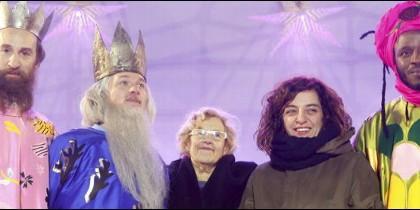Manuela Carmena, Celia Meyer y los Reyes Magos.