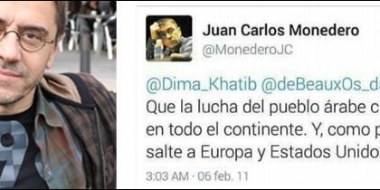 Juan Carlos Monedero y captura de su tuit de 2011.