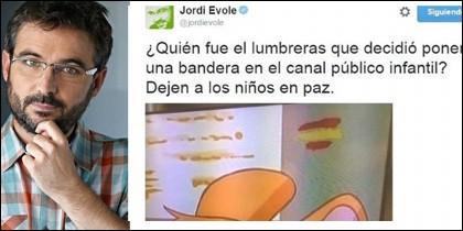 Jordi Évole y la captura de su tuit.