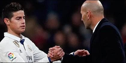 Zidane 'cogió por banda' a James Rodríguez tras su doblete al Sevilla