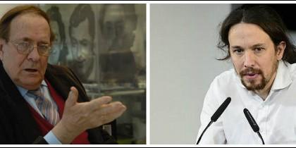 Ramón Tamames y Pablo Iglesias.