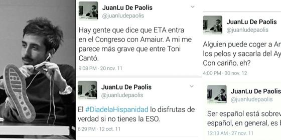 Juanlu De Paolis y una captura de sus tuits.