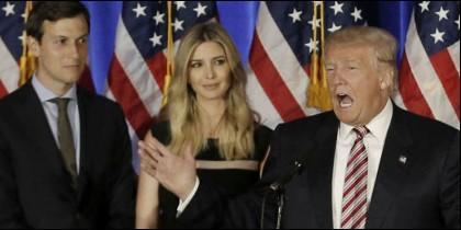 Jared Kushner, Ivanka y Donald Trump.