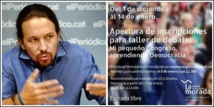 Pablo Iglesias y el cartel anunciador de los cursos.