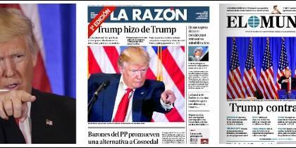 Donald Trump y las portadas de La Razón y El Mundo.