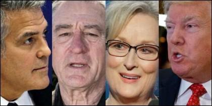Geroge Clooney, Robert de Niro, Meryl Streep y Donald Trump.
