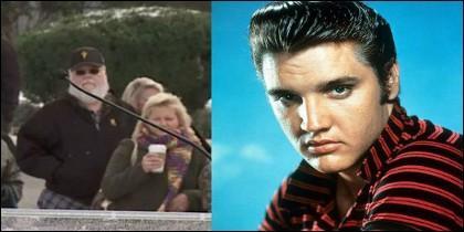 La supuesta foto de Elvis Presley anciano, junto a una del cantante en sus años mozos