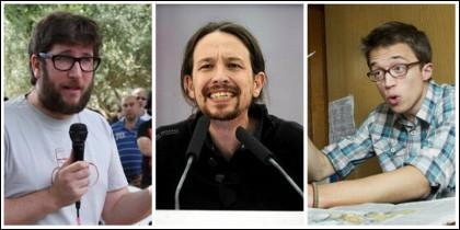 Miguel Urbán, Pablo Iglesias e Íñigo Errejón.