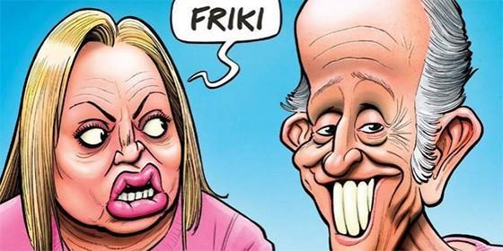 Belén Estaban y Eduardo Inda, caricaturizados.