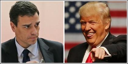 Pedro Sánchez y Donald Trump.