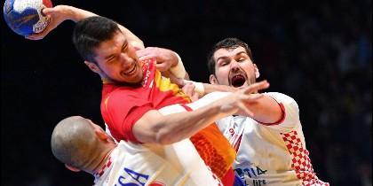España contra Croacia en balonmano.
