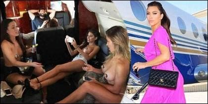 Kim Kardashian se encarama al jet privado de Dan Bilzerian, donde el jugador monta sus orgías.
