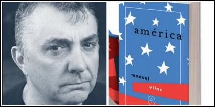 Manuel Vilas y la portada de 'América'.