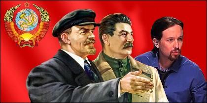 Lenin, Stalin y Pablo Iglesias (PODEMOS).