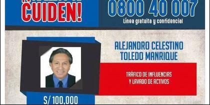 Cartel de busca y captura de Alejandro Toledo.