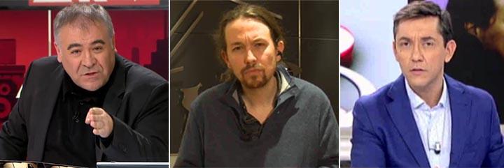 Antonio García Ferreras, Pablo Iglesias y Javier Ruiz.