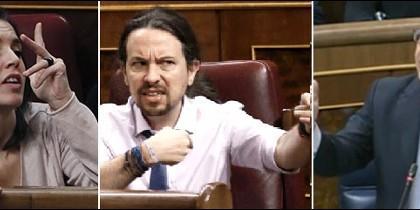 Irene Montero y Pablo Iglesias contra Montoro en el Congreso.