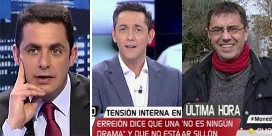 Juan Carlos Naranjo, y Javier Ruiz con Monedero.