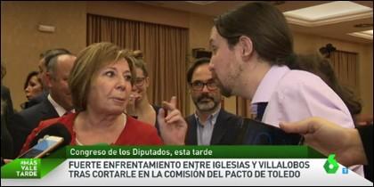 Celia Villalobos y Pablo Iglesias.