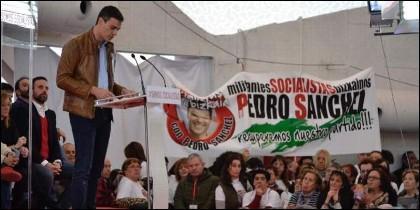Pedro Sánchez en un mítin en Valladolid (PSOE).