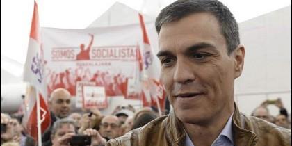 Pedro Sánchez en campaña por las primarias del PSOE.