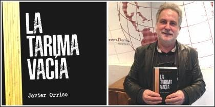 Javier Orrico y la portada de 'La tarima vacía'.