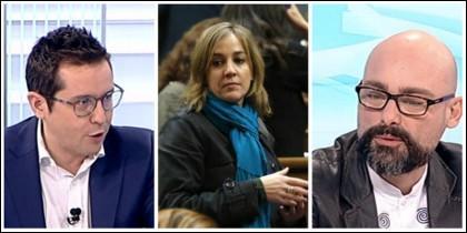 Martín (TVE), T. Sánchez y Txema Guijarro (Podemos)