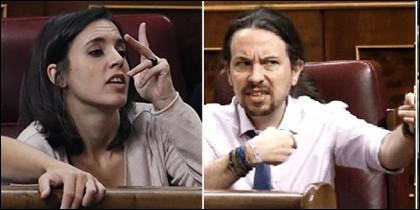 Irene Montero y su novio Pablo Iglesias (PODEMOS).